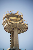 "The New York State Pavilion from the 1964-65 World's Fair in Flushing Meadows Park in Queens in New York on Saturday, February 22, 2014.  The landmarked ""ruin"" designed by the noted architect Philip Johnson has fallen into disrepair over the years. The NYC Dept. of Parks and Recreation estimated that it would costs $72 million to fully restore it, preserving it as a ""ruin"" but stabilized would run $50 million and demolition would only cost $14 million. A number of elected officials and preservationists are working toward preservation of the historic structure. This year is the 50th anniversary of the World's Fair. (© Richard B. Levine)"