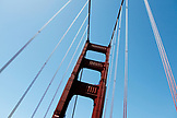 USA, California, San Francisco, looking up at the North tower of the Golden Gate Bridge from a car