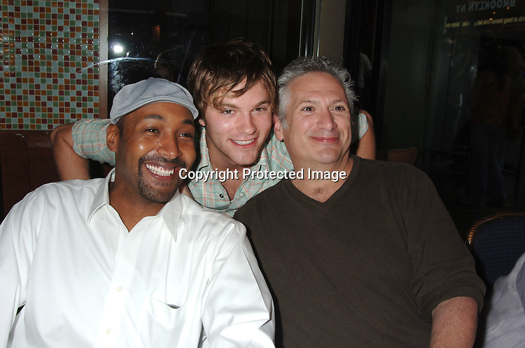Jesse L Martin, Van Hansis and Harvey Fierstein ..at The 20th Annual Broadway Cares/Equity Fights Aids Broadway Flea Market, Celebrity Autograph Table and Grand Auction on September 24, 2006 at Shubert Alley...Robin Platzer, Twin Images