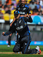 Daniel Vettori tries to control the ball during the ICC Cricket World Cup one day pool match between the New Zealand Black Caps and England at Wellington Regional Stadium, Wellington, New Zealand on Friday, 20 February 2015. Photo: Dave Lintott / lintottphoto.co.nz
