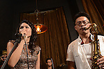 DC Stage, Kaohsiung -- Guest vocalist Lien Hsiao-Yun and tenor sax player Jeffrey Lin of Smalls Jazz Combo performing on stage together.