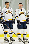 Zach Ledford (Bentley - 20), Herbie Kent (Bentley - 21) - The Bentley University Falcons defeated the visiting Sacred Heart University Pioneers 6-2 in their home opener on November 3, 2010, at John A. Ryan Skating Center in Watertown, Massachusetts.