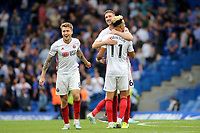 Sheffield United players celebrate earning a point at Stamford Bridge at the final whistle during Chelsea vs Sheffield United, Premier League Football at Stamford Bridge on 31st August 2019