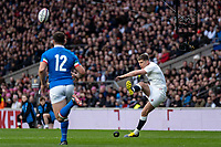 Owen Farrell of England slots the George conversion during the Guinness Six Nations match between England and Italy at Twickenham Stadium on March 9th, 2019 in London, United Kingdom. Photo by Liam McAvoy.