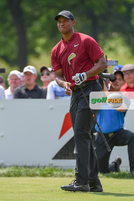 Tiger Woods (USA) watches his tee shot on 3 during 4th round of the World Golf Championships - Bridgestone Invitational, at the Firestone Country Club, Akron, Ohio. 8/5/2018.<br /> Picture: Golffile | Ken Murray<br /> <br /> <br /> All photo usage must carry mandatory copyright credit (© Golffile | Ken Murray)