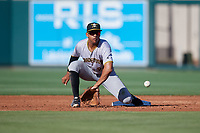 Bradenton Marauders second baseman Trae Arbet (26) crouches to receive a throw during the first game of a doubleheader against the Lakeland Flying Tigers on April 11, 2018 at Publix Field at Joker Marchant Stadium in Lakeland, Florida.  Lakeland defeated Bradenton 5-4.  (Mike Janes/Four Seam Images)