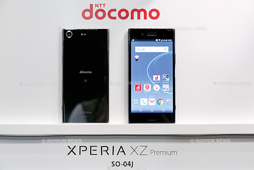 Samples of the DOCOMO smartphone XPERIA XZ Premium on display during the launch event for 8 new mobile devices for the summer lineup on May 24, 2017, Tokyo, Japan. DOCOMO introduced seven new smartphones and one tablet along with a new app and service plans. (Photo by Rodrigo Reyes Marin/AFLO)