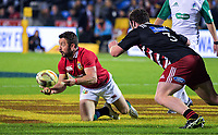 Greig Laidlaw passes from a breakdown during the 2017 DHL Lions Series rugby union match between the NZ Provincial Barbarians and British & Irish Lions at Toll Stadium in Whangarei, New Zealand on Saturday, 3 June 2017. Photo: Dave Lintott / lintottphoto.co.nz