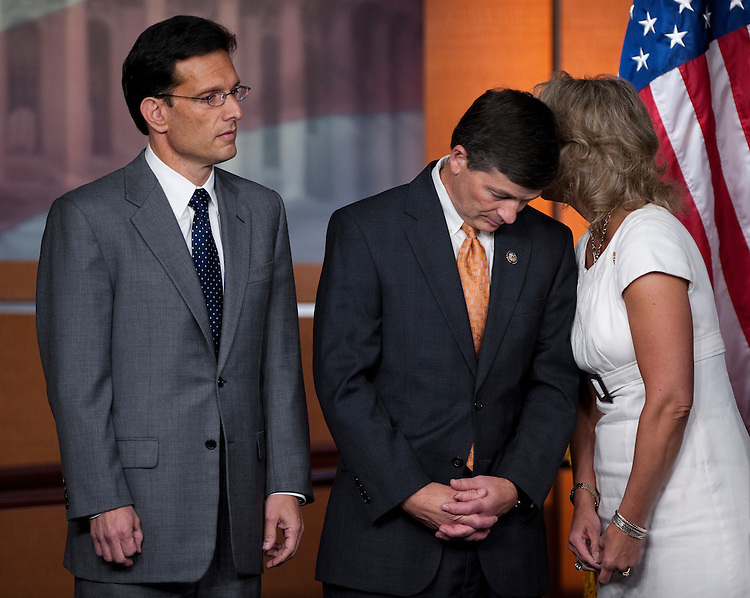 UNITED STATES - JULY 28: From left, House Majority Leader Eric Cantor, R-Va., House Republican Conference Chairman Jeb Hensarling, R-Texas, and Rep. Renee Ellmers, R-N.C., participate in a House Republicans news conference on the debt ceiling  on Thursday, July 28, 2011. (Photo By Bill Clark/Roll Call)