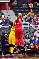 Washington, DC - June 15, 2018: Washington Mystics guard Elena Delle Donne (11) with a scoop shot over Los Angeles Sparks forward Candace Parker (3) during game between the Washington Mystics and Los Angeles Sparks at the Capital One Arena in Washington, DC. (Photo by Phil Peters/Media Images International)