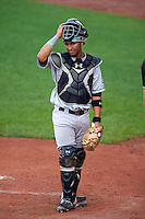Kane County Cougars catcher Michael Perez (9) during a game against the Cedar Rapids Kernels on August 18, 2015 at Perfect Game Field in Cedar Rapids, Iowa.  Kane County defeated Cedar Rapids 1-0.  (Mike Janes/Four Seam Images)