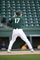 Center fielder Bryce Kelley (17) of the Michigan State Spartans bats in a game against the Merrimack Warriors on Saturday, February 22, 2020, at Fluor Field at the West End in Greenville, South Carolina. Merrimack won, 7-5. (Tom Priddy/Four Seam Images)