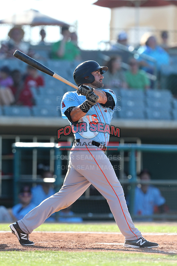 Wade Hinkle #16 of the Inland Empire 66ers bats against the Lancaster JetHawks at The Hanger on May 26, 2014 in Lancaster, California. Lancaster defeated Inland Empire, 6-5. (Larry Goren/Four Seam Images)