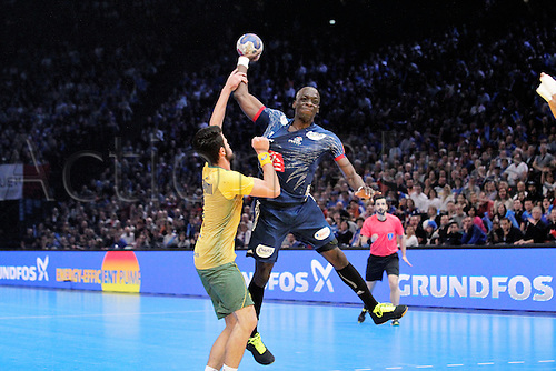 11.01.2017. Accor Arena, Paris, France. 25th World Handball Championships France versus Brazil. Guy Olivier Nyokas France in action