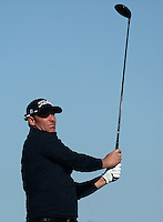 Ex-Cricketer Shane Warne tees off during Round 1 of the 2015 Alfred Dunhill Links Championship at the Old Course, St Andrews, in Fife, Scotland on 1/10/15.<br /> Picture: Richard Martin-Roberts | Golffile
