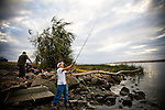 Fishing on Sherman Island in the Delta, October 14, 2009.