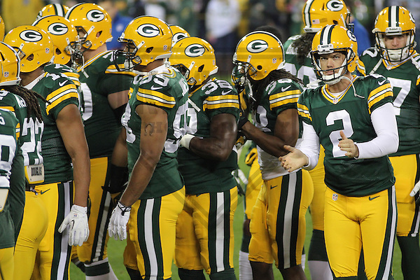 GREEN BAY - November 2013: Members of the Green Bay Packers prior to a game against the Chicago Bears on November 4, 2013 at Lambeau Field in Green Bay, Wisconsin. (Photo by Brad Krause)