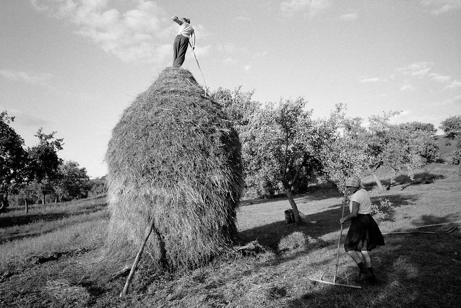 ROMANIA / Maramures / Valeni / August 2003..Maria Nemes and her daughter finish one of the last haystacks for the season. A family will typically make between 20 and 40 haystacks each summer depending on how much land they own..© Davin Ellicson / Anzenberger
