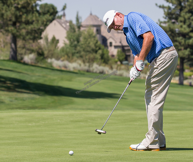 Tommy Gainey putts during the Barracuda Championship PGA golf tournament at Montrêux Golf and Country Club in Reno, Nevada on Saturday, July 27, 2019.
