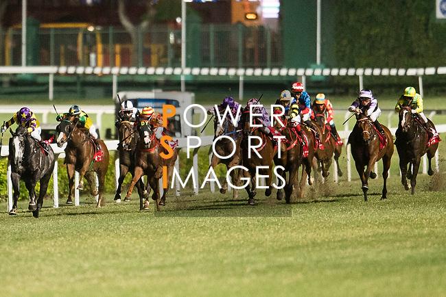 Jockeys riding their horses during the race 7 of during Hong Kong Racing at Happy Valley Race Course on November 08, 2017 in Hong Kong, China. Photo by Marcio Rodrigo Machado / Power Sport Images