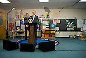 "United States President Barack delivers remarks on the ""Race To The Top"" program at the Graham Road Elementary School in Falls Church, Virginia on Tuesday, January 19, 2010. The President is announcing his request for an additional $1.35 billion in 2011 for the program that was created as part of the economic stimulus bill signed into law last year. He is joined by U.S. Secretary of Education Arne Duncan. .Credit: Kristoffer Tripplaar / Pool via CNP"