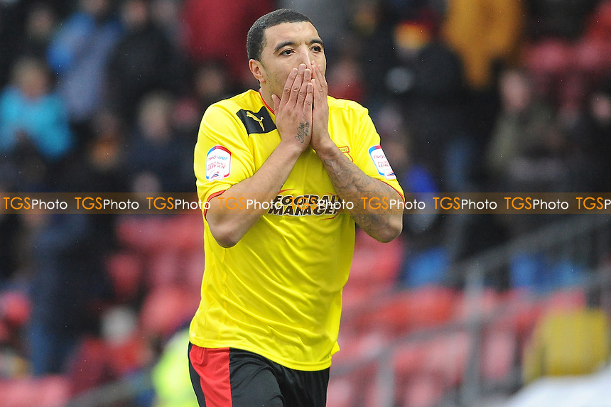 Troy Deeney of Watford rounds Huddersfield keeper Alex Smithies but fails to finish - Watford vs Huddersfield Town - NPower Championship Football at Vicarage Road Stadium, Watford - 19/01/13 - MANDATORY CREDIT: Anne-Marie Sanderson/TGSPHOTO - Self billing applies where appropriate - 0845 094 6026 - contact@tgsphoto.co.uk - NO UNPAID USE.