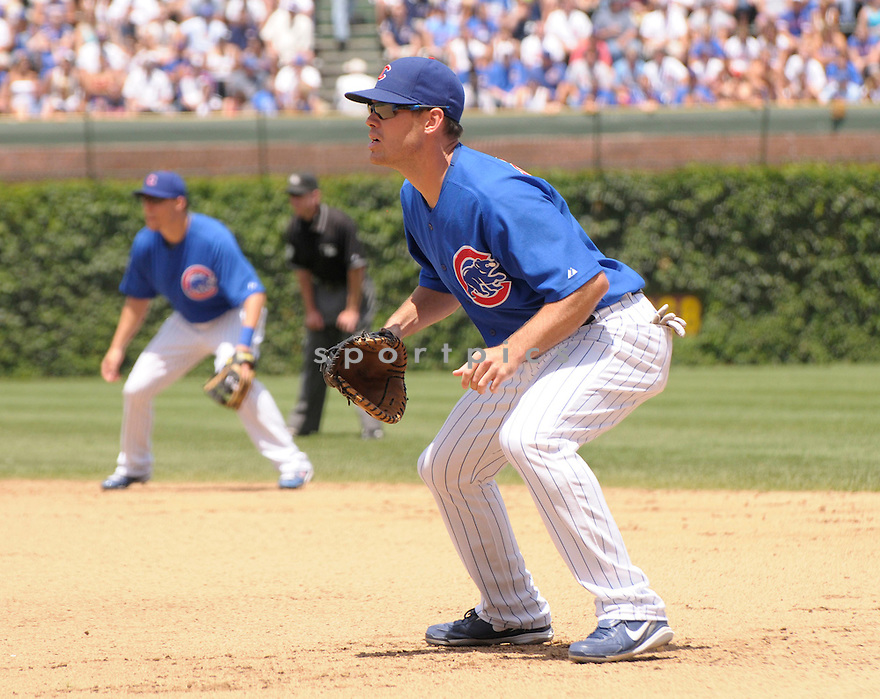 MICAH HOFFPAUIR, of the Chicago Cubs , in action  during the Cubs game against the St. Louis Cardinals,   on July 11, 2009 in Chicago, IL  The Cubss beat  the Cardinals 7-3.