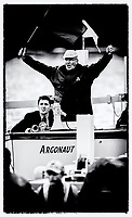 """Henley on Thames,  GREAT BRITAIN, 5th July 2007, """"Henley Royal Regatta"""", """"Chairman Mike SWEENEY"""", at the start, umpiring a race at the 2007 Henley Royal Regatta,  Henley Reach  """"Film Noir Style Photography"""", © Peter SPURRIER,"""