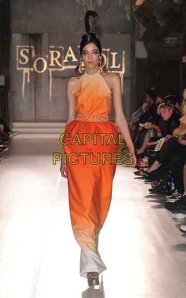 model on the runway at the Sorapol LFW s/s 2016 catwalk show, The Royal College of Surgeons, Lincoln's Inn Fields, London, England, UK, on Saturday 19 September 2015. <br /> CAP/CAN<br /> &copy;Can Nguyen/Capital Pictures