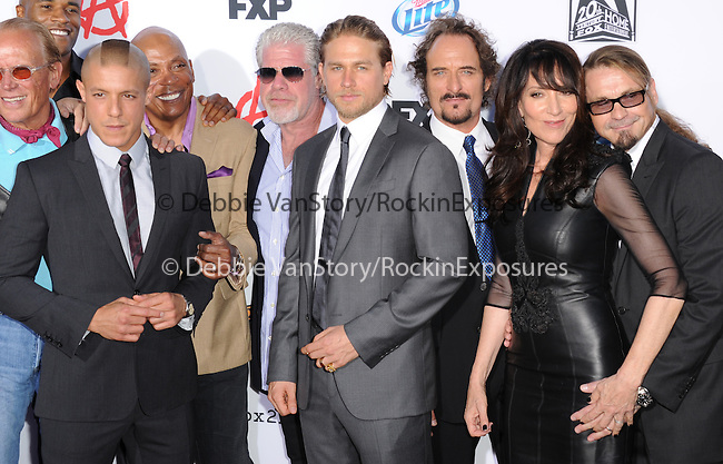 Theo Rossi,Paris barclay,Ron Perlman,Charlie Hunnam,Kim Coates,Katey Sagal,Kurt Sutter at FX screening of Sons of Anarchy Season 6 held at Dolby Theatre in Hollywood, California on September 07,2013                                                                   Copyright 2013 Hollywood Press Agency