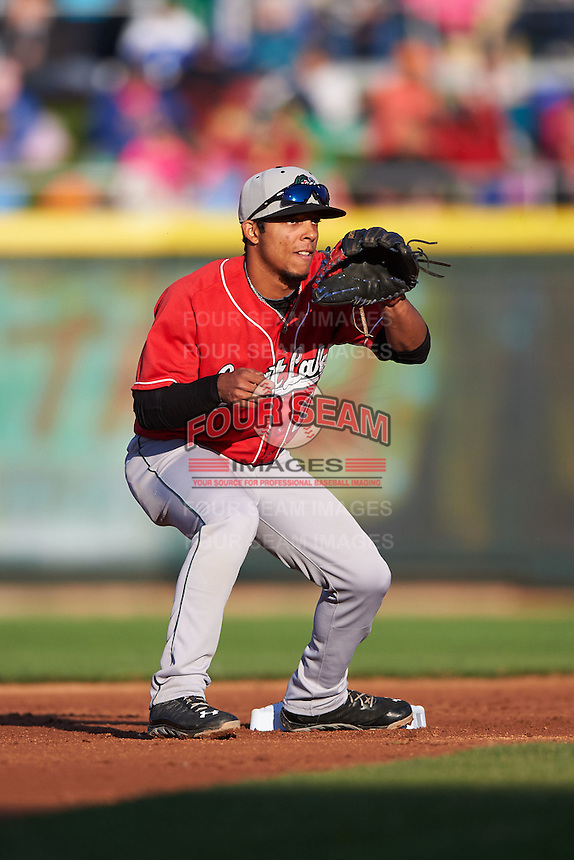 Great Lakes Loons second baseman Kelvin Ramos (12) waits for a throw during a game against the Dayton Dragons on May 21, 2015 at Fifth Third Field in Dayton, Ohio.  Great Lakes defeated Dayton 4-3.  (Mike Janes/Four Seam Images)