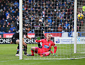 17th March 2018, The John Smiths Stadium, Huddersfield, England; EPL Premier League football, Huddersfield Town versus Crystal Palace; James Tomkins of Crystal Palace beats Jonas Lossl of Huddersfield Town from close range to make it 0-1 in the 26th minute with Christian Benteke of Crystal Palace close by