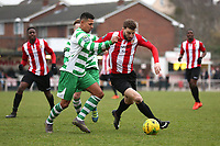 Ben Glasgow of Waltham Abbey and Bradley Warner of Hornchurch during AFC Hornchurch vs Waltham Abbey, Bostik League Division 1 North Football at Hornchurch Stadium on 13th January 2018