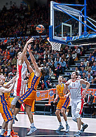 VALENCIA, SPAIN - 05/12/2014. Mitrovic, Marjanovic del Estrella Roja y Lonkar, Lucic del Valencia Basket durante el partido. Pabellon Fuente de San Luis, Valencia, Spain.