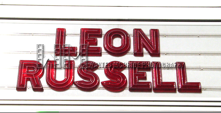 Leon Russell ( Theatre Marquee )<br /> plays the B.B. King Club on 42nd Street in <br /> New York City.<br /> July 26, 2005<br /> © Walter McBride / Retna Ltd.