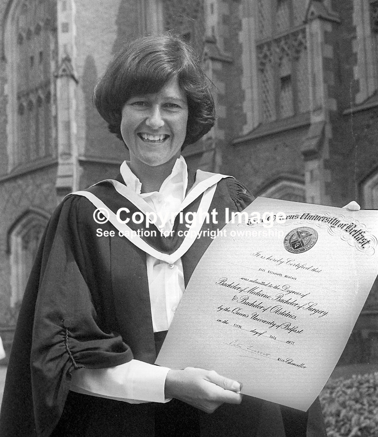 Jill Minford, Belfast, N Ireland, who graduated in Medicine from Queen's University, Belfast, June 1977. Amateur tennis champion, member, Windsor Lawn Tennis Club. 197706000149JM<br /> <br /> Copyright Image from Victor Patterson, 54 Dorchester Park, Belfast, UK, BT9 6RJ<br /> <br /> Tel: +44 28 9066 1296<br /> Mob: +44 7802 353836<br /> <br /> Email: victorpatterson@me.com<br /> <br /> IMPORTANT: If you wish to use this image or any other of my images please go to www.victorpatterson.com and click on the Terms &amp; Conditions. Then contact me by email or phone with the reference number(s) of the image(s) concerned.