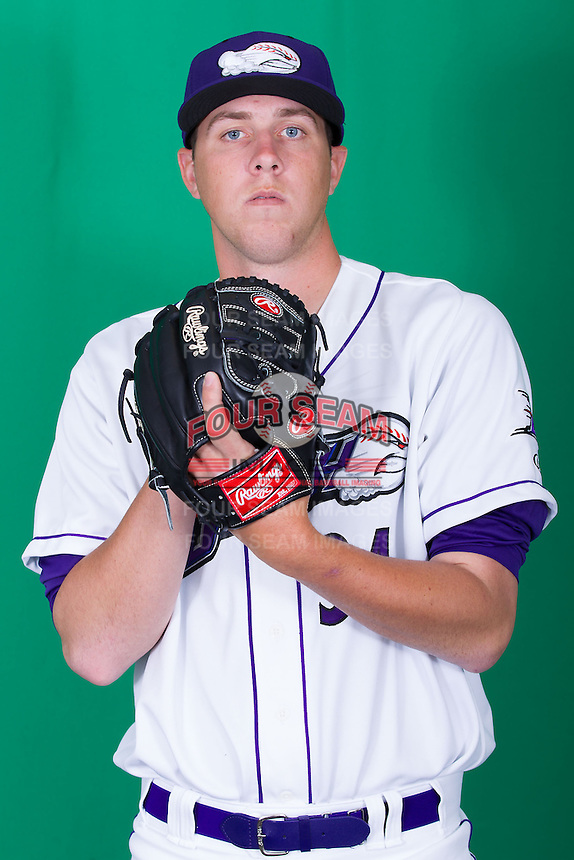 Winston-Salem Dash pitcher Kyle Hansen (34) poses for photos during Media Day at BB&T Ballpark on April 1, 2014 in Winston-Salem, North Carolina (Brian Westerholt/Four Seam Images)