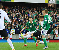 Joshua Kimmich (Deutschland Germany) klaert - 09.09.2019: Nordirland vs. Deutschland, Windsor Park Belfast, EM-Qualifikation DISCLAIMER: DFB regulations prohibit any use of photographs as image sequences and/or quasi-video.