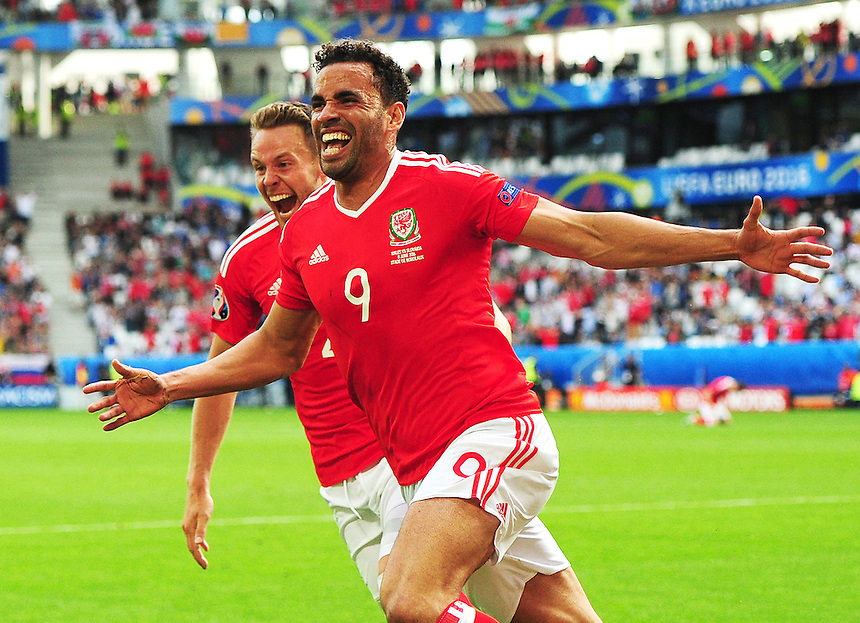 GOAL CELEBRATION - Wales's Hal Robson-Kanu celebrates scoring his sides second goal <br /> <br /> Photographer Kevin Barnes/CameraSport<br /> <br /> International Football - 2016 UEFA European Championship - Group B - Wales v Slovakia - Saturday 11th June 2016 - Nouveau Stade de Bordeaux, Bordeaux<br /> <br /> World Copyright &copy; 2016 CameraSport. All rights reserved. 43 Linden Ave. Countesthorpe. Leicester. England. LE8 5PG - Tel: +44 (0) 116 277 4147 - admin@camerasport.com - www.camerasport.com