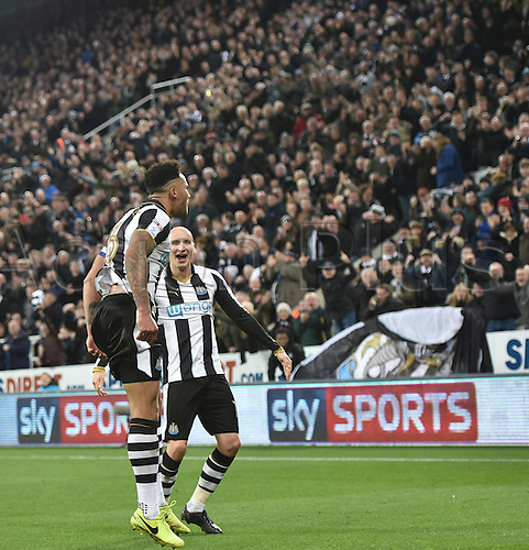 February 20th 2017, St James Park, Newcastle, England; Skybet Championship football, Newcastle versus Aston Villa; Jamaal Lascelles of Newcastle United and Jonjo Shelvey of Newcastle United celebrate their second goal in the 59th minute from an own goal