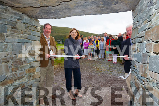 Mary Sugrue from from the Irish American Partnership in Boston cut the ribbon to officially open Saidhbh's Fort in Cahersiveen on Tuesday evening also pictured here l-r; Frank Curran(Chairman ACARD) & Jimmy Curran(ACARD Director).