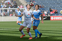 Bridgeview, IL - Saturday April 22, 2017: Katie Bowen, Danielle Colaprico during a regular season National Women's Soccer League (NWSL) match between the Chicago Red Stars and FC Kansas City at Toyota Park.