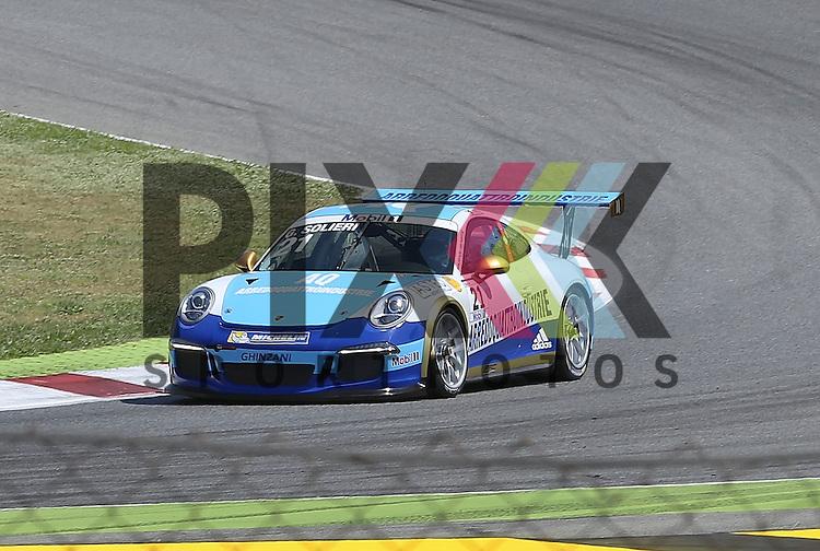 Barcelona, 10.05.15, Motorsport, Porsche Mobil 1 Supercup 2015 : Glauco Solieri (Martinet by Alm&eacute;ras, #21)<br /> <br /> Foto &copy; P-I-X.org *** Foto ist honorarpflichtig! *** Auf Anfrage in hoeherer Qualitaet/Aufloesung. Belegexemplar erbeten. Veroeffentlichung ausschliesslich fuer journalistisch-publizistische Zwecke. For editorial use only.