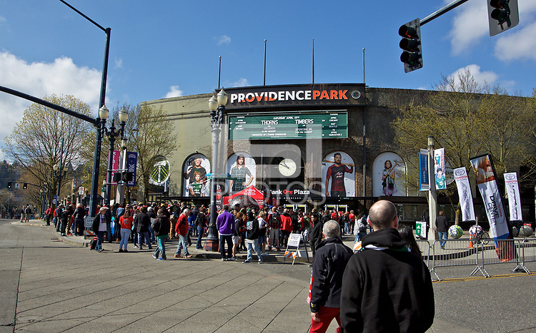 Portland, OR - Saturday April 15, 2017: Providence Park prior to a regular season National Women's Soccer League (NWSL) match between the Portland Thorns FC and the Orlando Pride at Providence Park.
