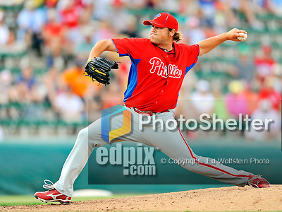 9 March 2011: Philadelphia Phillies' pitcher Mike Zagurski on the mound during a Spring Training game against the Detroit Tigers at Joker Marchant Stadium in Lakeland, Florida. The Phillies defeated the Tigers 5-3 in Grapefruit League play. Mandatory Credit: Ed Wolfstein Photo