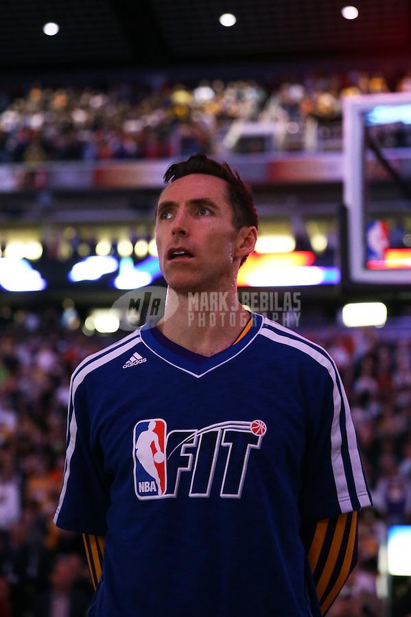 Jan. 30, 2013; Phoenix, AZ, USA: Los Angeles Lakers guard Steve Nash (10) against the Phoenix Suns at the US Airways Center. Mandatory Credit: Mark J. Rebilas-