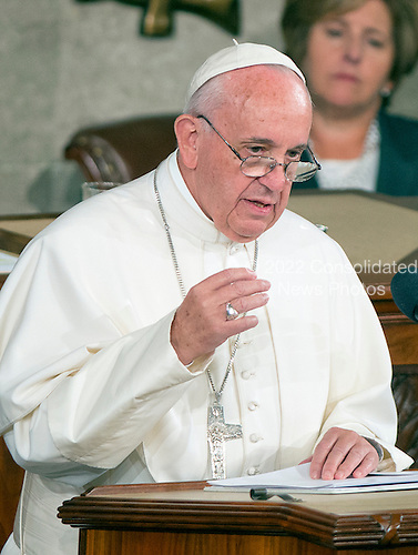 Pope Francis delivers an address to a Joint Session of the United States Congress in the US Capitol in Washington, DC on Thursday, September 24, 2015.<br /> Credit: Ron Sachs / CNP<br /> (RESTRICTION: NO New York or New Jersey Newspapers or newspapers within a 75 mile radius of New York City)