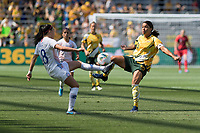 9th November 2019; Bankwest Stadium, Parramatta, New South Wales, Australia; International Womens Friendly Football, Australia versus Chile; Sam Kerr of Australia and Camila Saez of Chile compete for the loose ball - Editorial Use