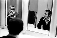 October 20th,1966. Manhattan, NYC. Ulla Thorsell and Charles Aznavour. Inside the Studio 50 at The Garry Moore Show, 219 West 53rd Street.
