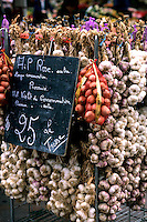 ropes of garlic in local shop of Nice France